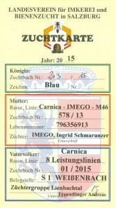 Zuchtkarte für eine unserer neuen Carnica Reinzuchtköniginnen 2015