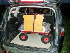 Der Etappenschwarm im Kofferraum auf dem Weg in seine neue Heimat